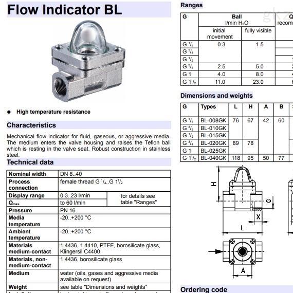豪斯派克Honsberg BL-...GK系列流量指示器