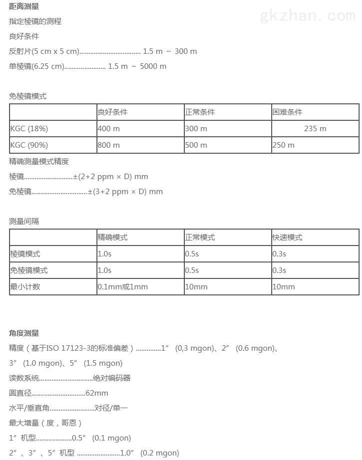 天宝C3全站仪技术参数1