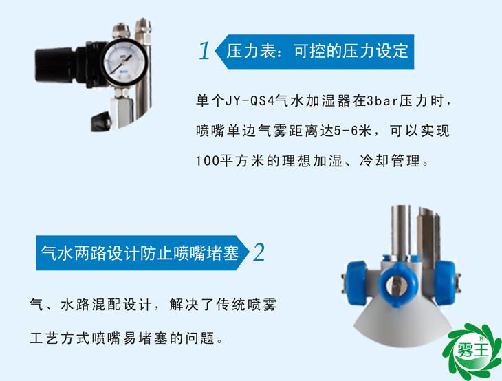 气水路混合设计,解决了传统喷雾工艺喷嘴易堵塞的问题
