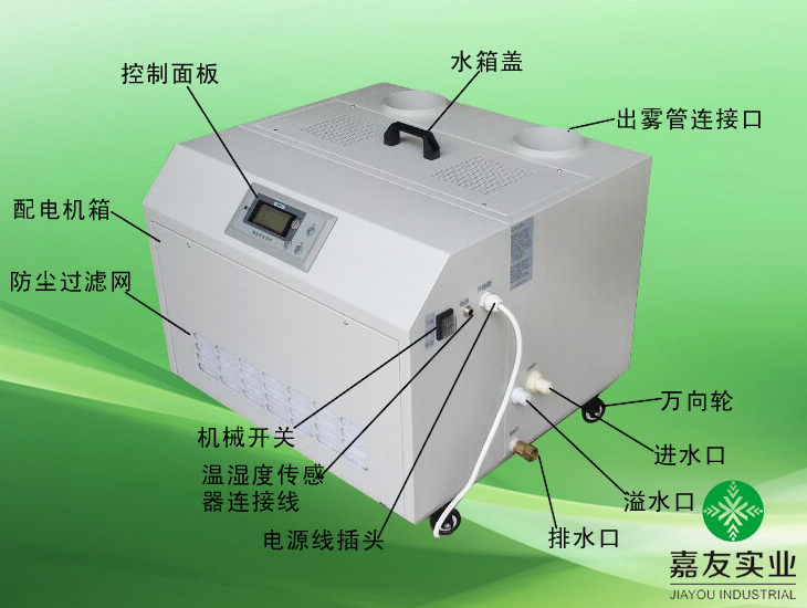 聲波加濕器各部件說明圖